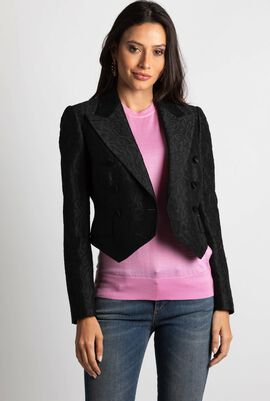 Jacquard Floral Double Breasted Jacket