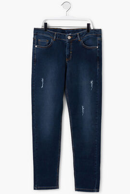 Ripped Washed Denim Pants