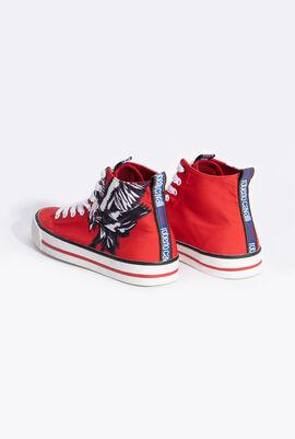 حذاء رياضي أسود برقبة مرتفعة وطبعة ثعبان Snatch Print