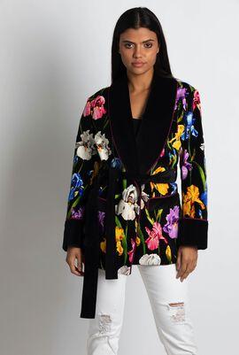 Iris-print Velvet Short Robe Jacket