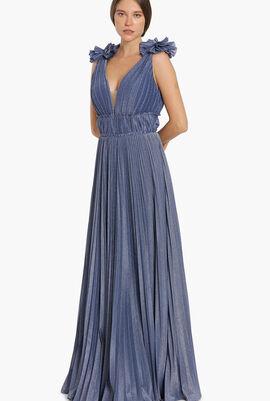 Pleated Ruffles Shoulder Evening Dress