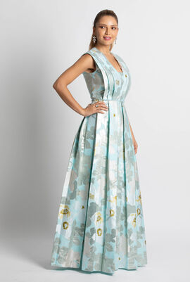 Jacquard Flower Sleeveless Gown