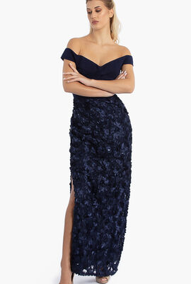Ribbon Textured Gown