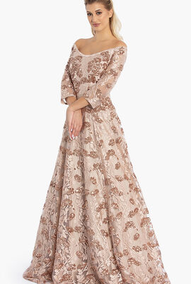 Off Shoulder Embroidery Gown