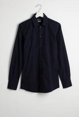 Jacquard Crown Logo Print Long Sleeve Shirt