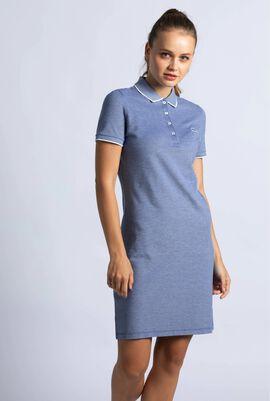 Slim Fit Pinstriped Stretch Mini Piqué Polo Dress