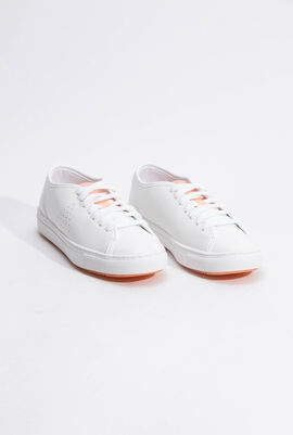 Jane Leather Optical White/Papaya Punch Sneaker