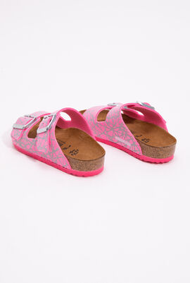 Arizona Birko-Flor Reflective Lines Pink Girl's Sandals