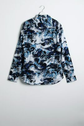 قميص ذو قصة ضيقة وأكمام طويلة بتصميم مطبوع