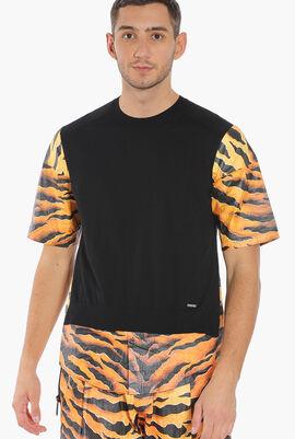 Tiger Print Sleeves Sweater