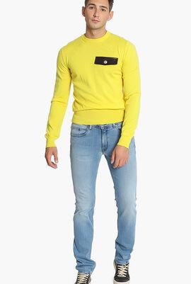 Embellished Flap Leather Sweater