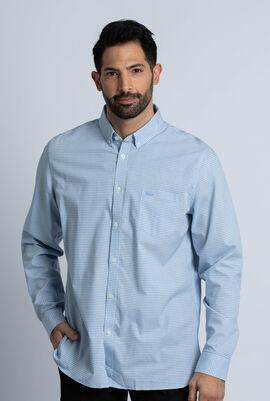 قميص بولو من قماش قطن بوبلين الفاخر ذو قصة عادية وطبعة مربعات