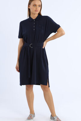 Relaxed Fit Belted Polo Dress