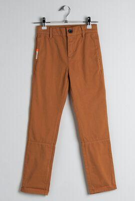 Brown Cotton Twill Chino Pants