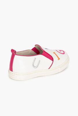 Embroidered Leather Slip-On Sneakers