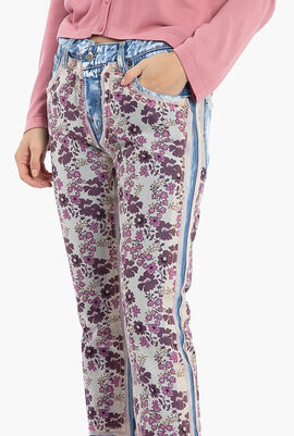 Floral Print Straight Fit Jeans