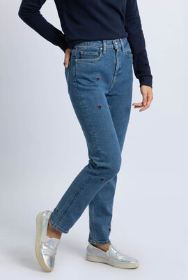 Straight Cut Rose Embroidered Stretch Cotton Jeans