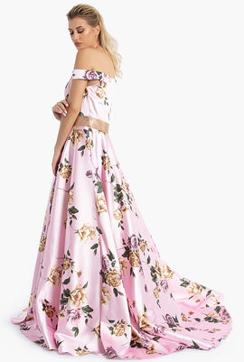 Off Shoulder Floral Print Gown