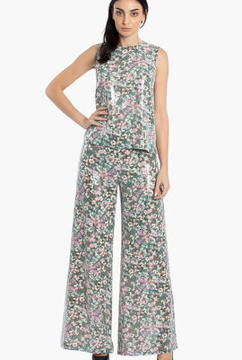 Floral Sequined Wide Leg Trouser