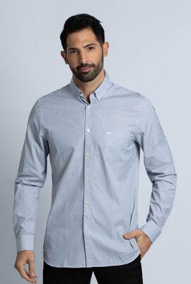 Slim Fit Cotton Poplin Dot Print Shirt