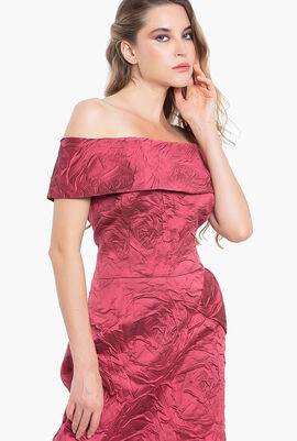 Off-Shoulder Brocade Gown