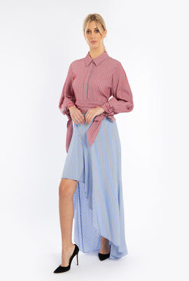 Striped Asymmetrical Hemline Dress