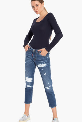 Button Fly Torn Jeans
