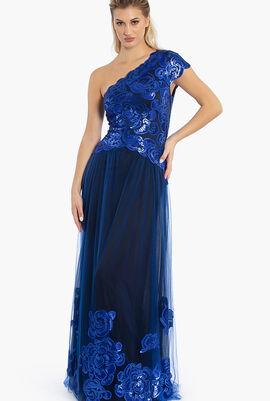 One Shoulder Sequins Gown