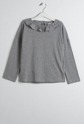 Gray Ruffle Collar T-Shirt
