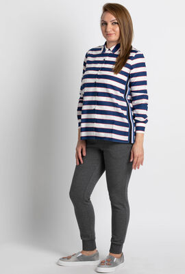 Relaxed Fit Striped Voile Shirt