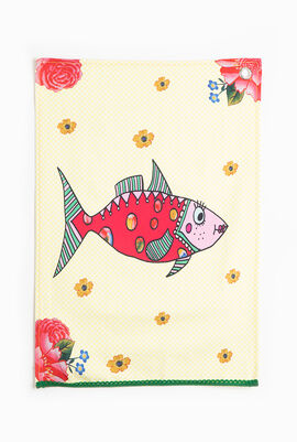 Mrs. Fish Canvas Tea Towel