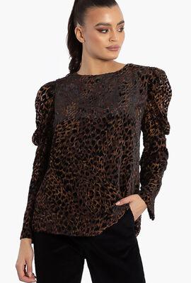 Noelle Leopard Print Velvet Burnout Blouse
