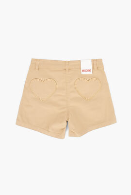 Embroidered Heart Teen Shorts