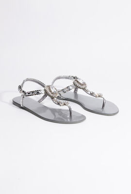 Crystal Embellished Thong Sandals