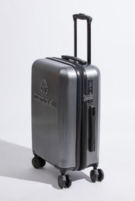 حقيبة بأربع عجلات خفيفة الوزن مزودة بقفل وذات تصميم كلاسيكي يحمل شعار العلامة التجارية