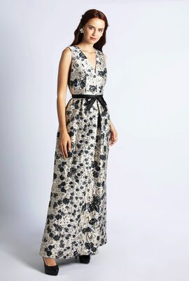 Neck Jacquard Roses Gown Dress