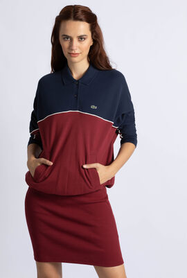 Bi-Material Colourblock Cotton Polo Dress