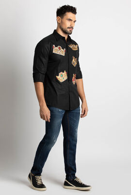 Embroidered Crown Long Sleeve Shirt