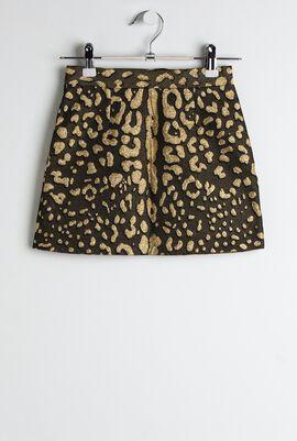 Jacquard Leopard A-Line Skirt