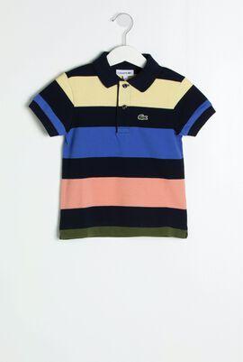 قميص بولو مقلم بألوان متباينة