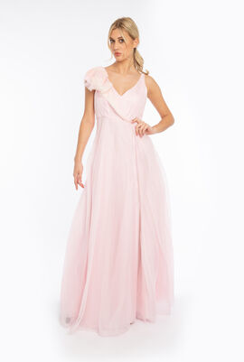 Organza Ruffled Shoulder Gown