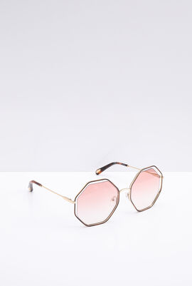 Octagon Metal Rim Women's Sunglasses