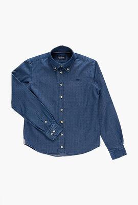 Polka Dot Denim Long Sleeve Shirt