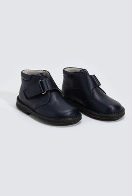 Velcro Strap Leather Bootie