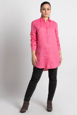 Fragance Linen Lagon Shirt Dress