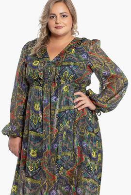 Paisley Print Pin-Stripe Lurex Gown