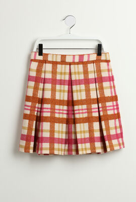 Checkered Pleated Wool Skirt