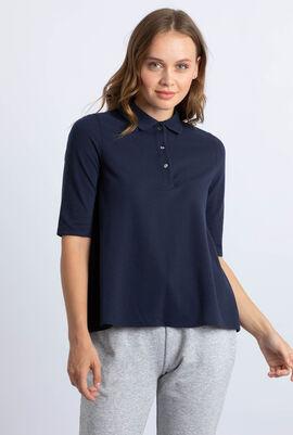Pleated Back Petit Pique Polo Shirt