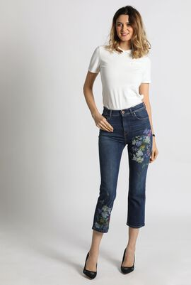 Roncolo Painted Cropped Flare Jeans