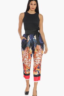 Peacock Silk High-Waisted Pants